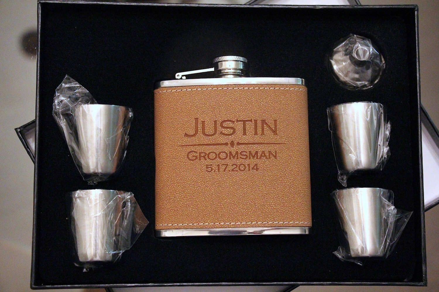 groomsmen gift flask personalized leather engraved custom gifts monogram groomsman hip flasks company presents customized weddbook